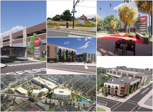 Pictured here is an image of Sharswood Commons prior to development, and artistic renderings of the Sharswood Ridge project at completion. The project will bring much needed affordable and workforce housing, a grocery store, an urgent care medical center, and more to Philadelphia's Sharswood neighborhood. Credit: Sharswood Partners, LLC.
