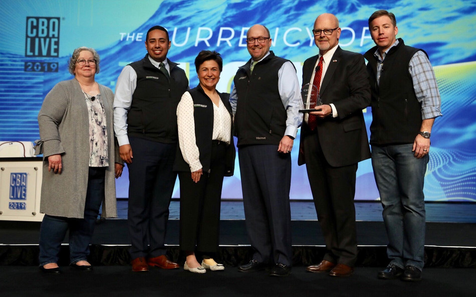Presentation of the 2019 Joe Belew Award to Woodforest National Bank. Pictured left to right: CBA Community Reinvestment Committee Chair, Sue Whitson with BMO Harris; Daniel Galindo, Julie Mayrant, Doug Schaeffer and Jay Dreibelbis all with Woodforest; and CBA Board Chair, Todd Barnhart with PNC.