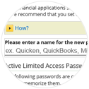 Limited Access Passwords instructions: step 4 - Name Password